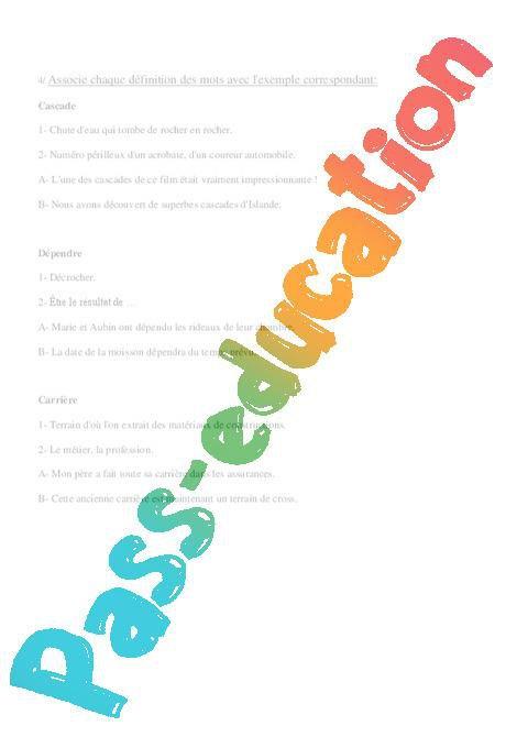Lire un article dans le dictionnaire - Cm1 - Exercices - Vocabulaire par Pass-education.fr ...