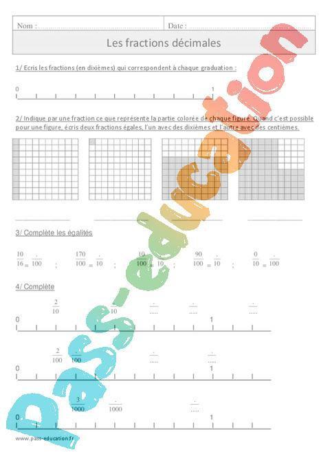 Fractions décimales - Cm1 - Exercices corrigés - Numération - Mathématiques - Cycle 3 par Pass ...
