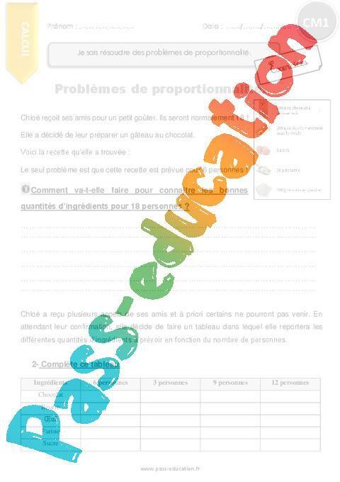 Je Sais Resoudre Des Problemes De Proportionnalite Exercices A Imprimer Cm1 Par Pass Education Fr Jenseigne Fr
