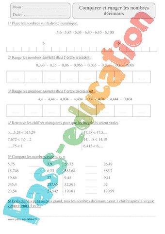 Image de Comparer et ranger les nombres décimaux – Cm2 – Exercices corrigés – Numération – Mathématiques – Cycle 3
