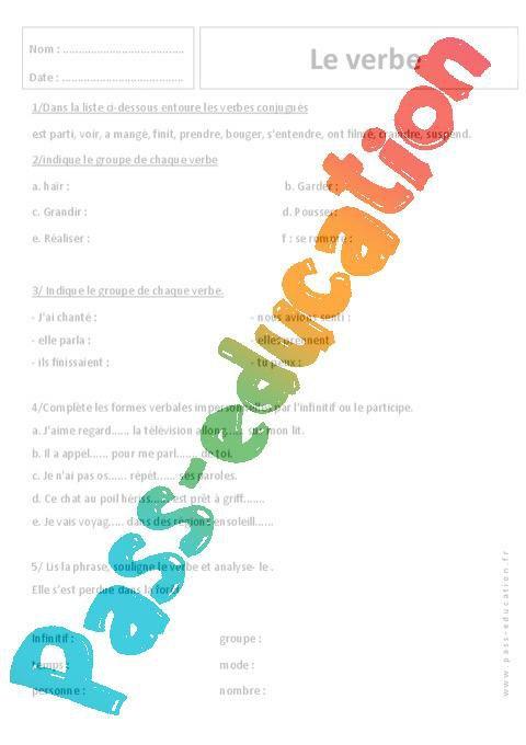 Reconnaitre Les Verbes Temps Et Mode 6eme Exercices Par Pass Education Fr Jenseigne Fr