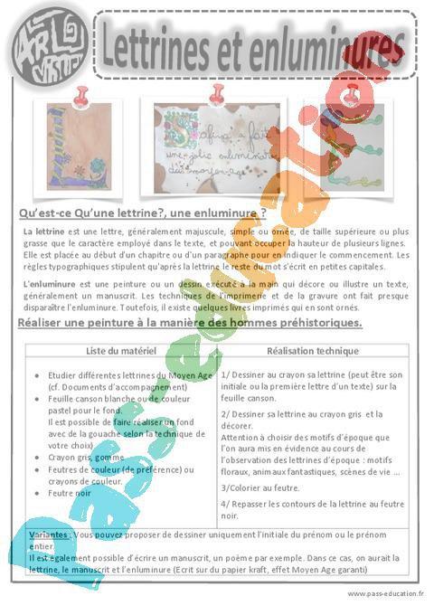 Lettrines Et Enluminures Ce1 Ce2 Cm1 Cm2 Arts Visuels Cycle 3