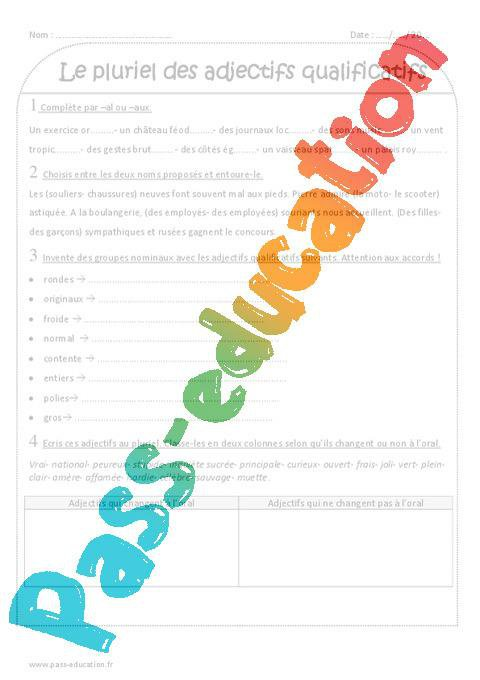 Accord De L Adjectif Qualificatif En Nombre Ce2 Exercices Corriges Par Pass Education Fr Jenseigne Fr
