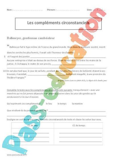 Compléments circonstanciels - Cm2 - Exercices corrigés ...