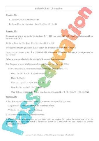 Loi d'Ohm - Exercices corrigés - 4ème - Physique - Chimie ...
