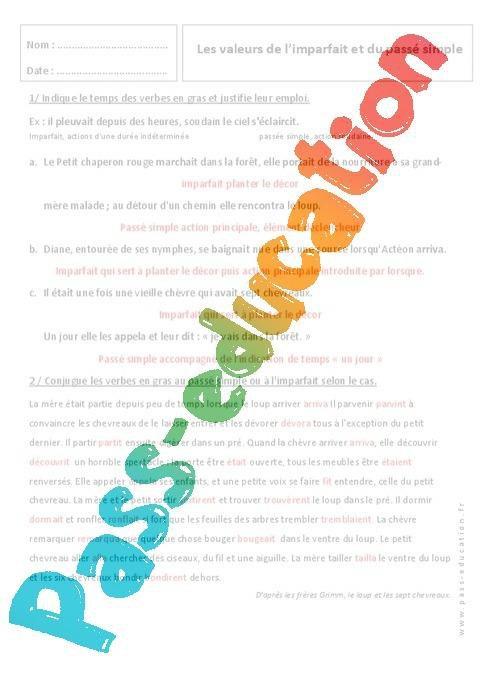 Imparfait Et Passe Simple 6eme Exercices Sur Les Valeurs Par Pass Education Fr Jenseigne Fr