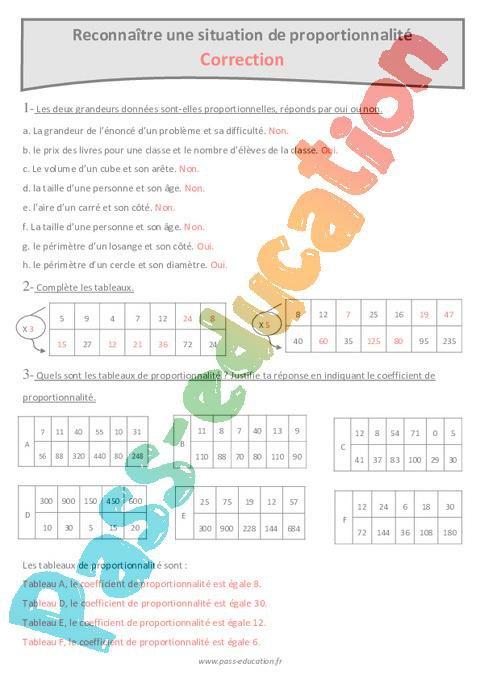 Reconnaitre Une Situation De Proportionnalite Cm2 Exercices A Imprimer Par Pass Education Fr Jenseigne Fr