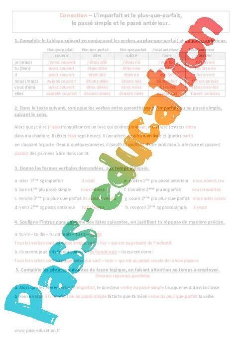 Temps Composes 4eme Evaluation A Imprimer Par Pass Education Fr Jenseigne Fr