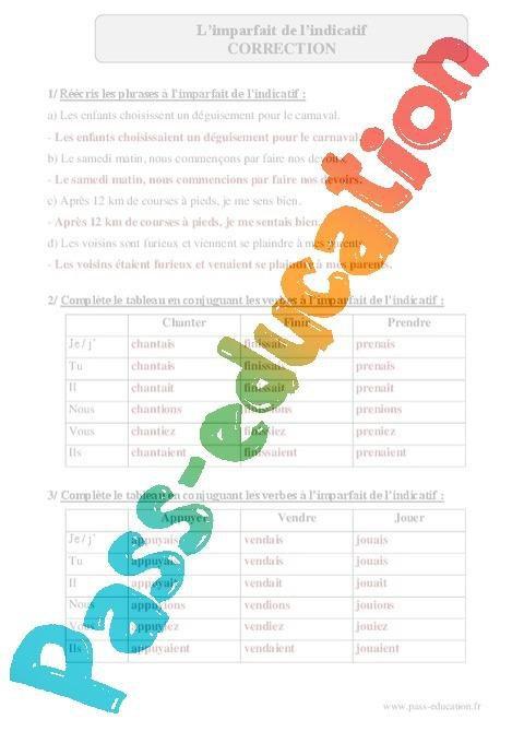 Imparfait De L Indicatif Cm2 Exercices Corriges Conjugaison Francais Cycle 3 Par Pass Education Fr Jenseigne Fr