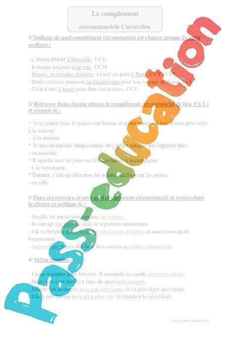 Complements Circonstanciels Cm1 Exercices Corriges Grammaire Cycle 3 Par Pass Education Fr Jenseigne Fr
